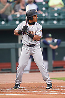 Left fielder Heriberto Hernandez (11) of the Charleston RiverDogs in a game against the Columbia Fireflies on Tuesday, May 11, 2021, at Segra Park in Columbia, South Carolina. (Tom Priddy/Four Seam Images)