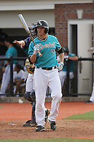 Taylor Motter #7 of the Coastal Carolina University Chanticleers hitting in a game against the University of Michigan Wolverines at the Carvelle Resort Classic Tournament held at Watson Stadium at Vrooman Field in Conway,, SC on March 13, 2010. Photo by Robert Gurganus/Four Seam Images