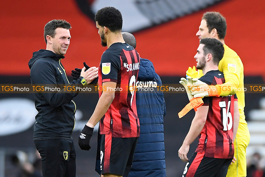AFC Bournemouth Assistant Manager Stephen Purches left congratulates Dominic Solanke of AFC Bournemouth  during AFC Bournemouth vs Reading, Sky Bet EFL Championship Football at the Vitality Stadium on 21st November 2020