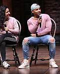 """Gabriella Sorrentino and Terrance Spencer during the Q & A before The Rockefeller Foundation and The Gilder Lehrman Institute of American History sponsored High School student #EduHam matinee performance of """"Hamilton"""" at the Richard Rodgers Theatre on 4/03/2019 in New York City."""