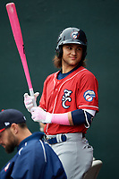 New Hampshire Fisher Cats shortstop Bo Bichette (5) during the first game of a doubleheader against the Harrisburg Senators on May 13, 2018 at FNB Field in Harrisburg, Pennsylvania.  Harrisburg defeated New Hampshire 2-1.  (Mike Janes/Four Seam Images)