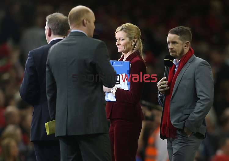 BBC Presenter Gabby Logan.<br /> RBS 6 Nations 2014<br /> Wales v Scotland<br /> Millennium Stadium<br /> <br /> 15.03.14<br /> <br /> ©Steve Pope-SPORTINGWALES