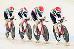 The team of Switzerland with Olivier Beer, Claudio Imhof, Frank Pasche and Cyrille Theiry competes in the Men's Team Pursuit - Qualifying match as part of the Men's Team Pursuit - Qualifying match as part of the 2017 UCI Track Cycling World Championships on 12 April 2017, in Hong Kong Velodrome, Hong Kong, China. Photo by Victor Fraile / Power Sport Images