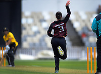 Sarah Asmussen bowls during the women's Hallyburton Johnstone Shield cricket match between the Wellington Blaze and Canterbury Magicians at Basin Reserve in Wellington, New Zealand on Sunday, 1 December 2019. Photo: Dave Lintott / lintottphoto.co.nz