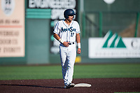 Everett AquaSox first baseman Nick Rodriguez (17) takes a lead off second base during a Northwest League game against the Tri-City Dust Devils at Everett Memorial Stadium on September 3, 2018 in Everett, Washington. The Everett AquaSox defeated the Tri-City Dust Devils by a score of 8-3. (Zachary Lucy/Four Seam Images)