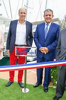 Marc PAJOT, Parrain du nouveau quai Catamarans, avec Henri LEROY lors de l'inauguration de celui-ci pendant le Salon du Bateau - Les Nouvelles Vagues du Nautisme - au Port de la Napoule à Mandelieu, Sud de la France, vendredi 14 avril 2017. # INAUGURATION DU SALON DU BATEAU A MANDELIEU