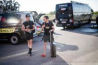 twin bro's Simon Yates (GBR/Mitchelton-Scott) & Adam Yates (GBR/Mitchelton-Scott) arring together at the team hotel<br /> <br /> Stage 8: Mâcon to Saint-Étienne(200km)<br /> 106th Tour de France 2019 (2.UWT)<br /> <br /> ©kramon