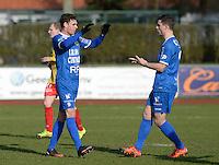 FC Knokke - OMS Ingelmunster : Jorgo Waeghe (links) viert zijn doelpunt met Steven Van Moeffaert (r)<br /> Foto VDB / Bart Vandenbroucke