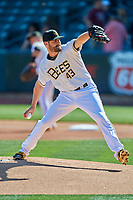 Salt Lake Bees starting pitcher Nick Tropeano (43) delivers a pitch to the plate against the Albuquerque Isotopes at Smith's Ballpark on April 27, 2019 in Salt Lake City, Utah. The Isotopes defeated the Bees 10-7. This was a makeup game from April 26, 2019 that was cancelled due to rain. (Stephen Smith/Four Seam Images)