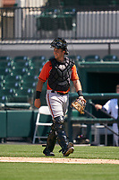Baltimore Orioles catcher Cody Roberts (13) during a Minor League Spring Training game against the Detroit Tigers on April 14, 2021 at Joker Marchant Stadium in Lakeland, Florida.  (Mike Janes/Four Seam Images)