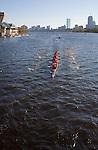 1980 Rowing Club; Senior-Master Eights Men [50+]; 2006 Head of the Charles Regatta; Master's rowers Boston; Boston skyline; Boston skyline from the Charles River; Rowers, 2006 Head of the Charles Regatta, Cambridge, Boston, Massachusetts, USA. October 21, 2006