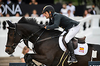 3rd October 2021;  Real Club de Polo, Barcelona, Spain; CSIO5 Longines FEI Jumping Nations Cup Final 2021; Manuel Fernandez Saro from Spain during the FEI Jumping Nations Cup Final 2021