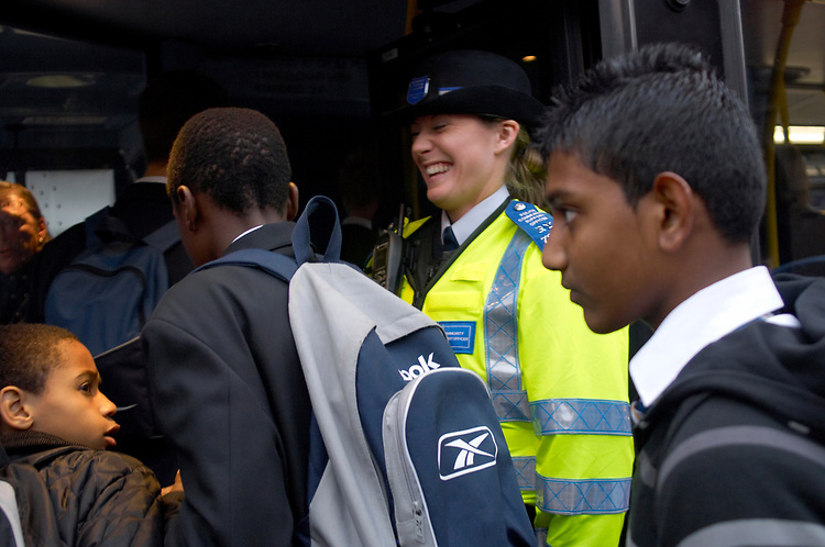 Community Police officers Lindsey Woods - On the bus route where many school meet in the Broadway area of Bexley Heath town centre Kent.