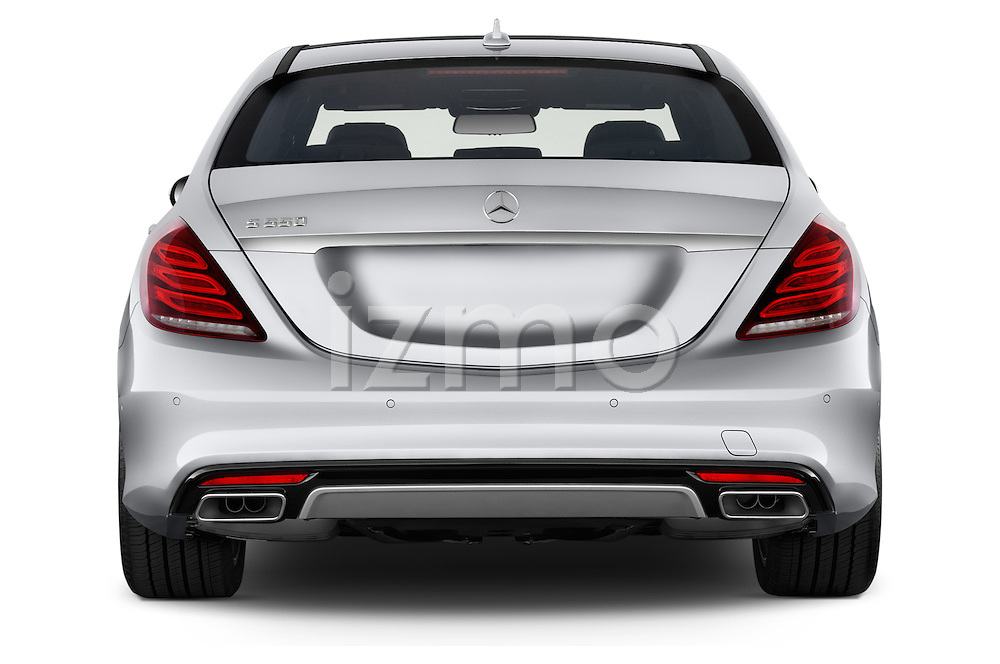 Straight rear view of 2017 Mercedes Benz S-Class S550 4 Door Sedan Rear View  stock images