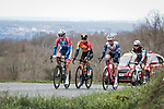The breakaway featuring Anthony Turgis (FRA) Total Direct Energie, Jan Tratnik (SLO) Bahrain-Mclaren, Ryan Mullen (IRL) Trek-Segafredo and Alexis Gougeard (FRA) AG2R, in action during Stage 5 of the 78th edition of Paris-Nice 2020, running 227km from Gannat to La Cote-Saint-Andre, France. 12th March 2020.<br /> Picture: ASO/Fabien Boukla | Cyclefile<br /> All photos usage must carry mandatory copyright credit (© Cyclefile | ASO/Fabien Boukla)