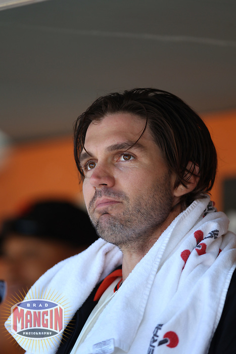 SAN FRANCISCO - JUNE 30:  Barry Zito of the San Francisco Giants sits in the dugout during the game against the Cincinnati Reds Giants at AT&T Park on June 30, 2012 in San Francisco, California. (Photo by Brad Mangin)