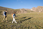 couple hiking, hike, alpine, tundra, Rowe Mountain, Rowe Peak distant, high elevation, recreation, outdoors, activity, August, morning, Rocky Mountain National Park, Colorado, USA (MR)