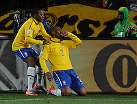 Brazil defender Maicon celebrates his goal, which gave his team a 1-0 lead in the 55th minute against North Korea.Brazil defeated North Korea, 2-1, in both teams' opening match of play in Group G of the 2010 FIFA World Cup. The match was played at Ellis Park in Johannesburg, South Africa June 15th.