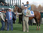 LEXINGTON, KY - APRIL 09: #6 Brody's Cause and jockey Luis Saez with connections on the turf course for the winner's circle presentation after winning the 92nd running of the Toyota Blue Grass (Grade 1) $1,000,000 at Keeneland race course for owner Albaugh Family Stable (Dennis Albaugh) and trainer Dale Romans. April 9, 2016 in Lexington, Kentucky. (Photo by Candice Chavez/Eclipse Sportswire/Getty Images)