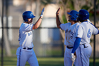 Dunedin Blue Jays Riley Adams (21) high fives Ryan Noda (19) and Demi Orimoloye (6) after hitting a home run during a Florida State League game against the Lakeland Flying Tigers on April 18, 2019 at Jack Russell Memorial Stadium in Clearwater, Florida.  Dunedin defeated Lakeland 6-2.  (Mike Janes/Four Seam Images)