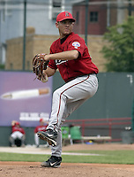 June 6, 2004:  Pitcher Saul Rivera of the Harrisburg Senators, Eastern League (Doube-A) affiliate of the Montreal Expos (Washington Nationals) during a game at Jerry Uht Park in Erie, PA.  Photo by:  Mike Janes/Four Seam Images