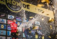 Podium: <br /> <br /> 2nd place finisher Mads Pedersen (DEN/Trek Segafredo) champagne showering...<br /> <br /> 102nd Ronde van Vlaanderen 2018<br /> 1day race: Antwerp › Oudenaarde - BEL (265k)