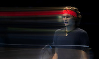 (181119) -- LONDON, Nov. 19, 2018 (Xinhua) -- Alexander Zverev of Germany reacts during the singles final against Novak Djokovic of Serbia during Day 8 of the 2018 Nitto ATP Tennis Herren World Tour Finals at The O2 Arena in London, Britain on Nov. 18, 2018. Alexander Zverev won 2-0. (Xinhua/Han Yan) (SP)BRITAIN-LONDON-TENNIS-ATP FINALS-FINAL PUBLICATIONxNOTxINxCHN  <br /> Londra 18-11-2018 <br /> ATP Masters final 2018 <br /> ITALY ONLY