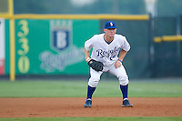 First baseman David Wood (64) of the Burlington Royals on defense at Burlington Athletic Park in Burlington, NC, Wednesday, August 13, 2008. (Photo by Brian Westerholt / Four Seam Images)
