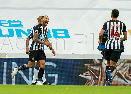 1st November 2020; St James Park, Newcastle, Tyne and Wear, England; English Premier League Football, Newcastle United versus Everton; Callum Wilson of Newcastle United celebrates scoring his second goal in minute 84 to take Newcastle 2-0 up against Everton