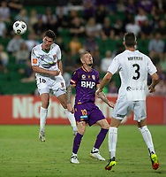 27th March 2021; HBF Park, Perth, Western Australia, Australia; A League Football, Perth Glory versus Newcastle Jets; Matthew Millar of the Newcastle Jets wins the header against Andy Keogh of Perth Glory
