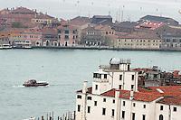 Una veduta di Punta della Dogana, in primo piano, a Venezia.<br /> View of Punta della Dogana, foreground, in Venice.<br /> UPDATE IMAGES PRESS/Riccardo De Luca