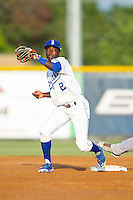 D.J. Burt (2) of the Burlington Royals fields a throw at second base during the game against the Greeneville Astros at Burlington Athletic Park on June 30, 2014 in Burlington, North Carolina.  The Royals defeated the Astros 9-8. (Brian Westerholt/Four Seam Images)