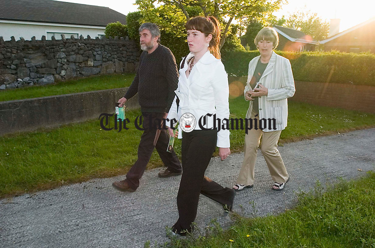 Sinn Fein General election candidate Anna Prior out on the canvass in Ennis with her parents Brian and Ann. Photograph by John Kelly.