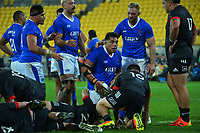 Samoa's Michael Alaalatoa gets up after scoring a disallowed try during the international rugby match between Manu Samoa and the Maori All Blacks at Sky Stadium in Wellington, New Zealand on Saturday, 26 June 2021. Photo: Dave Lintott / lintottphoto.co.nz