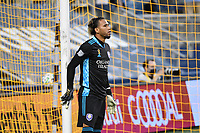 KANSAS CITY, KS - SEPTEMBER 23: Pedro Gallese #1 of Orlando City during a game between Orlando City SC and Sporting Kansas City at Children's Mercy Park on September 23, 2020 in Kansas City, Kansas.