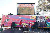 Two Serbia fans play a game of foosball at the Eastside restaurant outside the Loftus Versfeld Stadium before the 2010 World Cup first round match between Serbia and Ghana in Pretoria, South Africa on Saturday, June 12, 2010.
