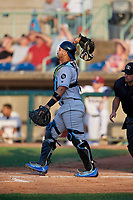 Hudson Valley Renegades catcher Luis Trevino (17) during a NY-Penn League game against the Mahoning Valley Scrappers on July 15, 2019 at Eastwood Field in Niles, Ohio.  Mahoning Valley defeated Hudson Valley 6-5.  (Mike Janes/Four Seam Images)