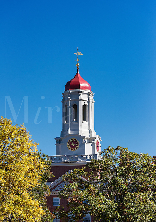Dunster House dormitory with clock tower, Harvard University, Cambridge, Massachusetts, USA