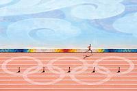 24 AUG 2008 - BEIJING, CHN - Mens Marathon - Day Sixteen - Beijing Olympics. (PHOTO (C) NIGEL FARROW) *** IOC RULES APPLY ON USAGE ***