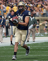 Pitt tight end Brock DeCicco makes a catch during warmups. The Pittsburgh Panthers defeat the New Hampshire Wildcats 38-16 at Heinz Field, Pittsburgh Pennsylvania on September 11, 2010.