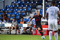LAKE BUENA VISTA, FL - JULY 22: Daniel Royer #77 of the New York Red Bulls dribbles the ball during a game between New York Red Bulls and FC Cincinnati at Wide World of Sports on July 22, 2020 in Lake Buena Vista, Florida.