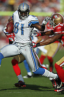 SAN FRANCISCO - DECEMBER 27:  Calvin Johnson #81 of the Detroit Lions runs with the football during the game against the San Francisco 49ers at Candlestick Park in San Francisco, California on Sunday, December 27, 2009. (Photo by Brad Mangin)