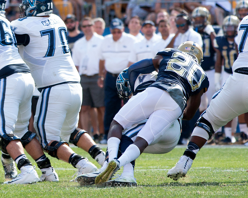 Pitt defensive back Dennis Briggs sacks the quarterback. The Pitt Panthers defeated the Villanova Wildcats 28-7 at Heinz Field, Pittsburgh, Pennsylvania on September 3, 2016.