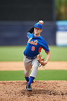 Pitcher Davis Daniel (9) of Saint James School in Montgomery, Alabama playing for the New York Mets scout team during the East Coast Pro Showcase on July 28, 2015 at George M. Steinbrenner Field in Tampa, Florida.  (Mike Janes/Four Seam Images)