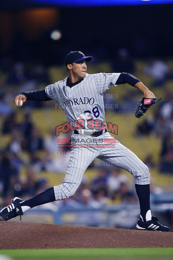 Ubaldo Jimenez of the Colorado Rockies during a game against the Los Angeles Dodgers in a 2007 MLB season game at Dodger Stadium in Los Angeles, California. (Larry Goren/Four Seam Images)