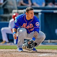7 March 2019: New York Mets catcher Wilson Ramos warms up a pitcher during a Spring Training Game against the Washington Nationals at the Ballpark of the Palm Beaches in West Palm Beach, Florida. The Nationals defeated the visiting Mets 6-4 in Grapefruit League, pre-season play. Mandatory Credit: Ed Wolfstein Photo *** RAW (NEF) Image File Available ***