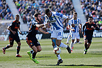 CD Leganes's Youssef En-Nesyri and Valencia CF' Jose Gaya during La Liga match, Round 25 between CD Leganes and Valencia CF at Butarque Stadium in Leganes, Spain. February 24, 2019. (ALTERPHOTOS/A. Perez Meca)