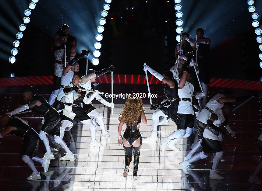 MIAMI, FL - FEBRUARY 2: Jennifer Lopez performs on the Pepsi Halftime Show at Super Bowl LIV at Hard Rock Stadium on February 2, 2020 in Miami, Florida. (Photo by Frank Micelotta/Fox Sports/PictureGroup)