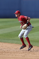 Ian Sagdal #6 of the Washington State Cougars during a game against the Cal State Fullerton Titans at Goodwin Field on  February 15, 2014 in Fullerton, California. Washington State defeated Fullerton, 9-7. (Larry Goren/Four Seam Images)