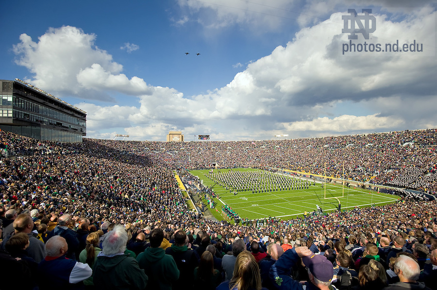 Oct. 29, 2011; Two U.S. Navy F/A-18 Hornet aircraft fly over Notre Dame Stadium as the Notre Dame Marching Band performs the national anthem...Photo by Matt Cashore